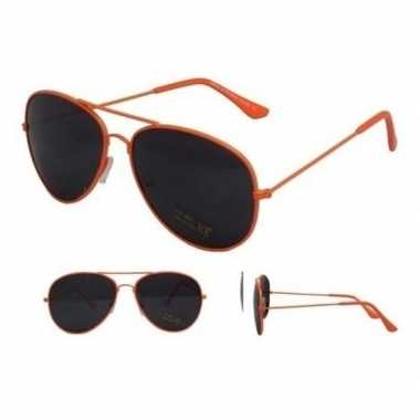 Festival/feest aviator zonnebril neon oranje voor volwassenen