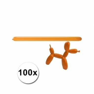 Figuurballonnen oranje 100 stuks