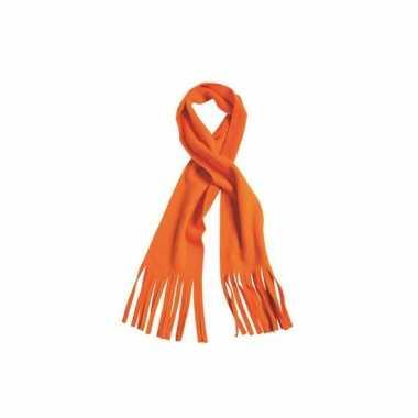 Fleece sjaals met franjes oranje
