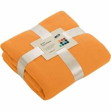 Fleece woondeken/woonplaid oranje 130 x 170 cm