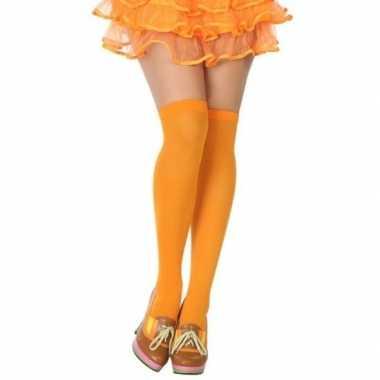 Fluor oranje hoge kousen voor dames