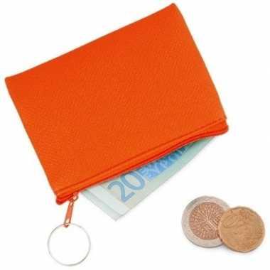 Fluor oranje portemonnee voor sleutels 10 x 7 cm