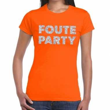 Foute party zilveren letters fun t-shirt oranje voor dames