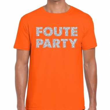 Foute party zilveren letters fun t-shirt oranje voor heren