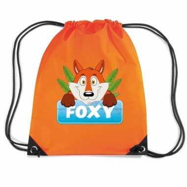 Foxy de vos trekkoord rugzak / gymtas oranje voor kinderen