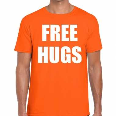 Free hugs fun t-shirt oranje voor heren