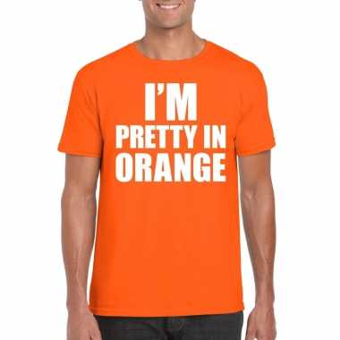 Fun t-shirt i am pretty in orange oranje voor heren