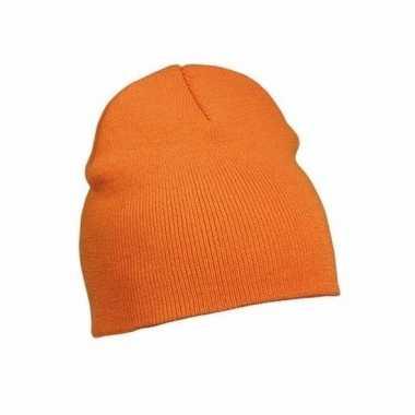 Gebreide basis muts oranje voor dames