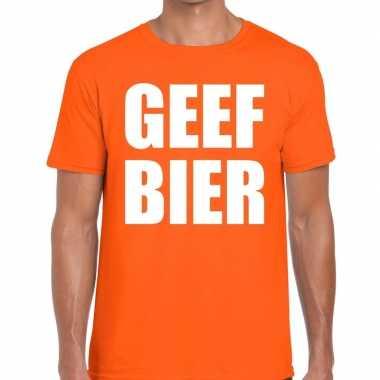 Geef bier fun t-shirt oranje voor heren