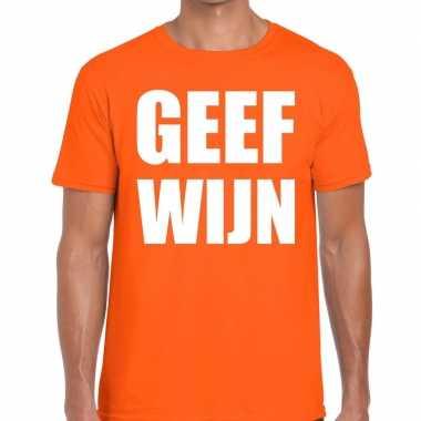 Geef wijn fun t-shirt oranje voor heren