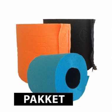 Gekleurd toiletpapier turqoise oranje en zwart