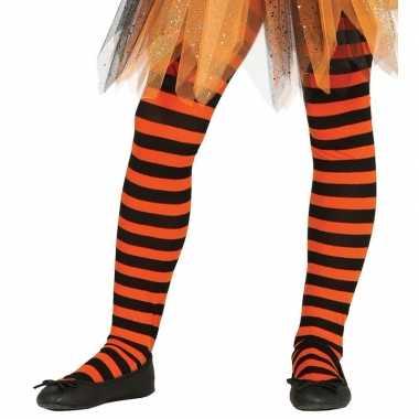 Gestreepte panty oranje zwart voor meisjes 5 9 jaar