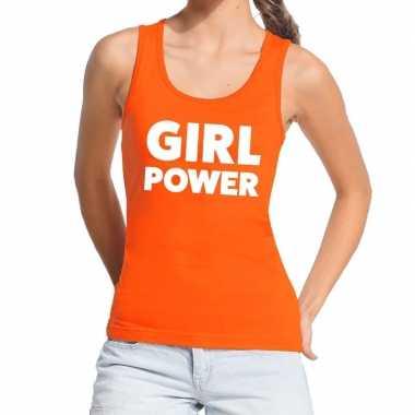 Girl power tanktop / mouwloos shirt oranje voor dames