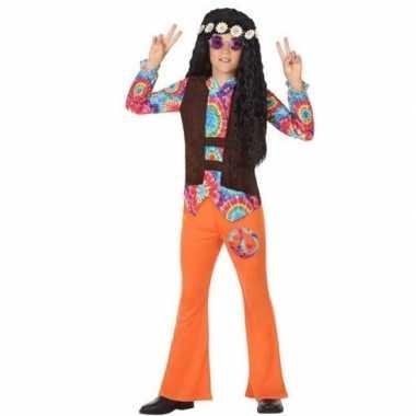 Goedkope hippie flower power verkleedpak oranje voor jongens