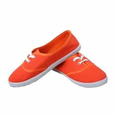 Goedkope oranje carnaval/feest schoenen/sneakers voor dames 36-41