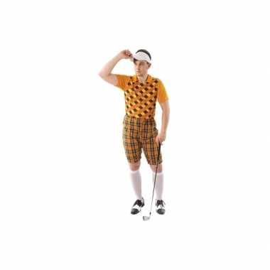 Golfers kostuum oranje voor heren