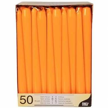 Gotische kaarsen oranje 50 stuks 25 cm