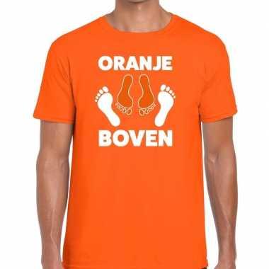 Grappig oranje boven t-shirt voor koningsdag of het ek/wk voor heren