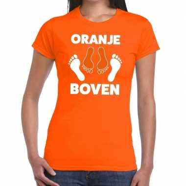 Grappig oranje boven t-shirt voor koningsdag of het ek/wk voor vrouwe