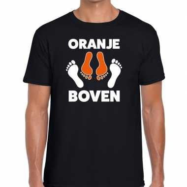 Grappig oranje boven t-shirt zwart voor koningsdag of het ek/wk voor