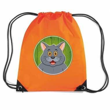Grijze kat dieren trekkoord rugzak gymtas oranje voor kinderen