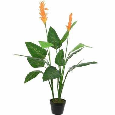Groene paradijsvogel kunstplanten 110 cm met oranje bloemen en zwarte