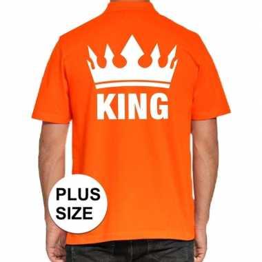 Grote maat koningsdag polo t-shirt oranje king voor heren