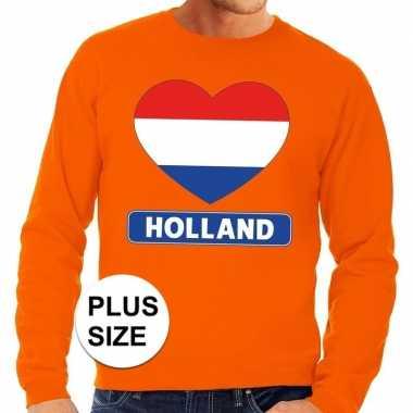 Grote maten holland hart supporter trui oranje heren