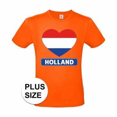 Grote maten holland hart vlag shirt oranje heren