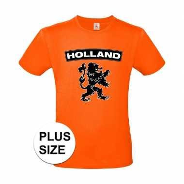 Grote maten holland shirt met zwarte leeuw shirt oranje heren