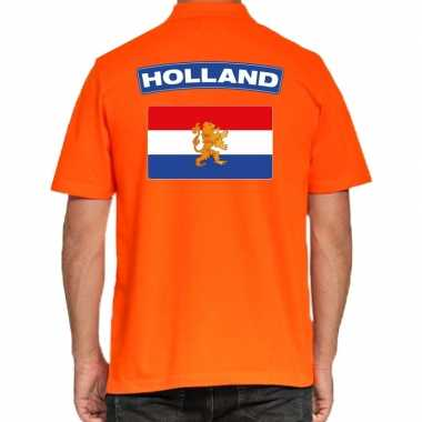 Grote maten holland supporter polo t-shirt oranje kingsday voor heren