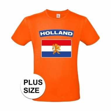 Grote maten holland vlag shirt oranje heren