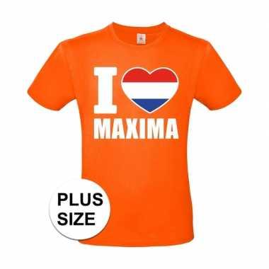 Grote maten i love maxima shirt oranje heren