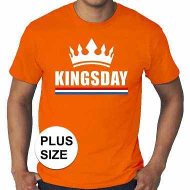 Grote maten kingsday / koningsdag met kroon shirt oranje heren
