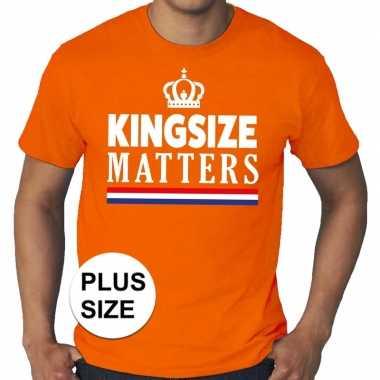 Grote maten kingsize matters koningsdag met kroon shirt oranje heren
