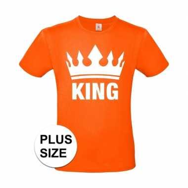 Grote maten koningsdag king shirt oranje heren