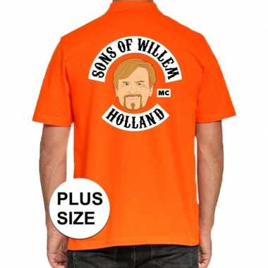 Grote maten koningsdag polo t-shirt oranje sons of willem holland mc