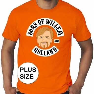 Grote maten koningsdag sons of willem shirt oranje heren