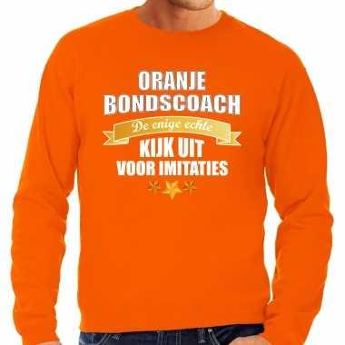 Grote maten oranje fan sweater / trui holland de enige echte bondscoach ek/ wk voor heren