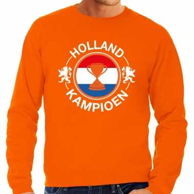 Grote maten oranje fan sweater / trui holland holland kampioen met beker ek/ wk voor heren