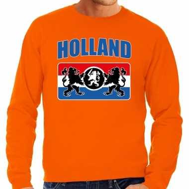Grote maten oranje fan sweater / trui holland met een nederlands wapen ek/ wk voor heren