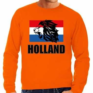 Grote maten oranje fan sweater / trui holland met leeuw en vlag ek/ wk voor heren