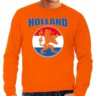 Grote maten oranje fan sweater / trui holland met oranje leeuw ek/ wk voor heren