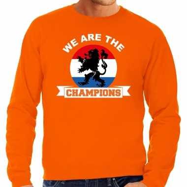 Grote maten oranje fan sweater / trui holland we are the champions ek/ wk voor heren