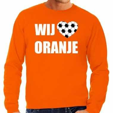 Grote maten oranje fan sweater / trui holland wij houden van oranje ek/ wk voor heren
