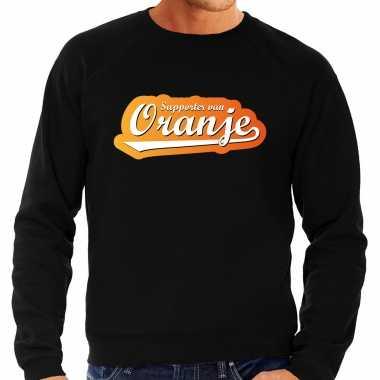 Grote maten zwarte fan sweater / trui holland supporter van oranje ek/ wk voor heren