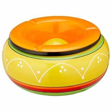 Grote xl asbak geel en oranje voor binnen en buiten 23 cm