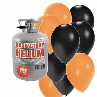 Halloween helium tankje met oranje/zwarte ballonnen 30 stuks
