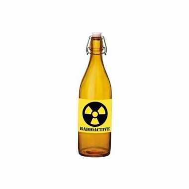 Halloween versiering oranje beugelfles met radioactief vergif