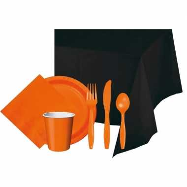 Halloween zwart/oranje versiering pakket